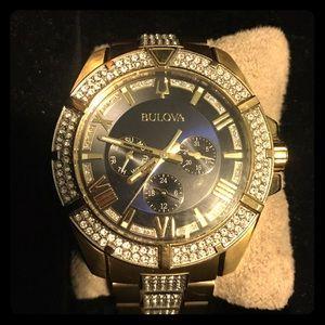 Bulova swarovski crystal blue dial watch